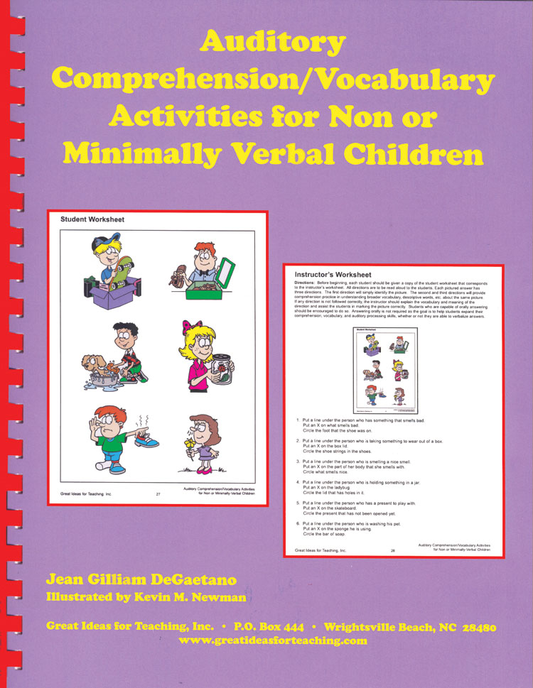 Auditory CompVocabulary Activities for Non or Minimally Verbal – Auditory Comprehension Worksheets